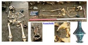 Im Verlauf der Grabungsarbeiten fanden sich hier *im südöstlichen Teil der Kirche* mehrere weibliche Bestattungen mit Scheren- und zum Teil Gefäßbeigabe. (Foto: Grabungsteam)