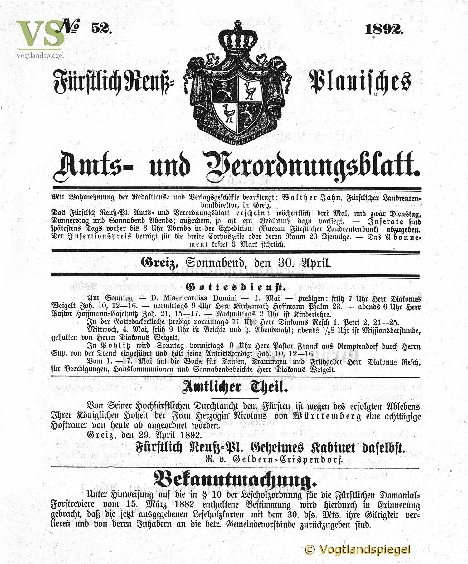 Amts-und Verordnungsblatt, Nr. 122