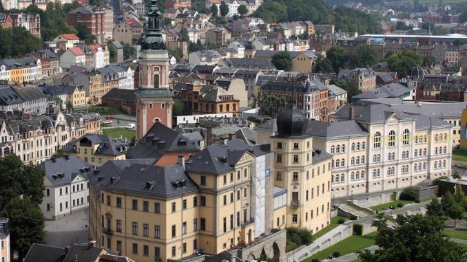 Blick zum Unteren Schloss in Greiz