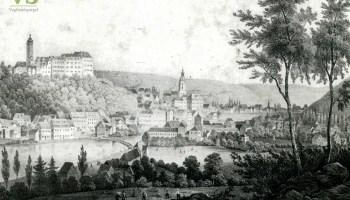 Ansicht auf Greiz vom Tempelwald, um 1850
