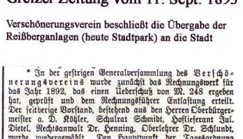 """Greizer Zeitung"""" vom 11. September 1893"""