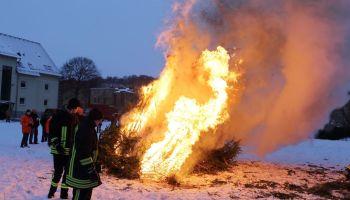 Tannenbäume brennen in der Greizer Neustadt