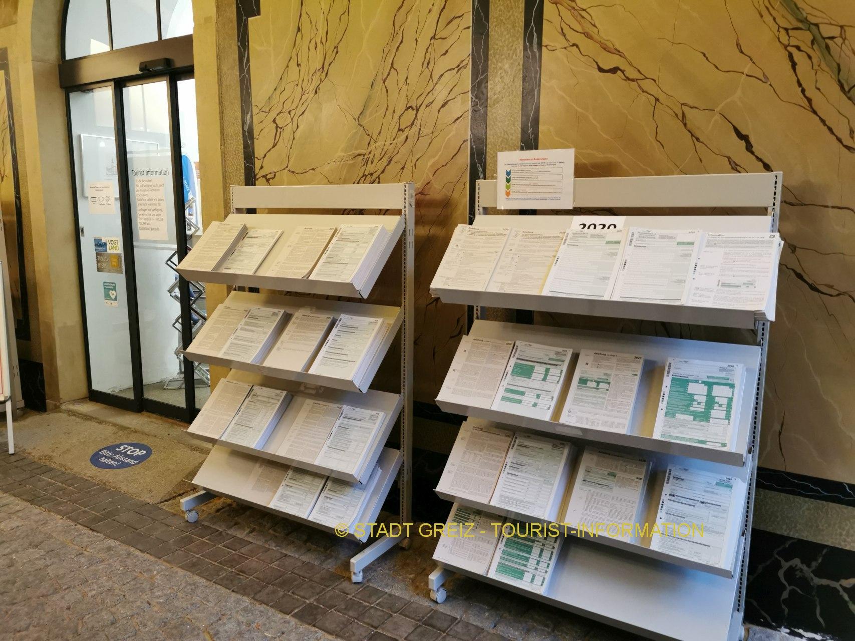 Formulare für Einkommensteuererklärung 2020 liegen ab sofort im Unteren Schloss Greiz, Burgplatz 12, aus
