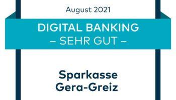 """Qualitätssiegel """"Sehr gut"""" für die digitalen Angebote der Sparkasse Gera-Greiz"""