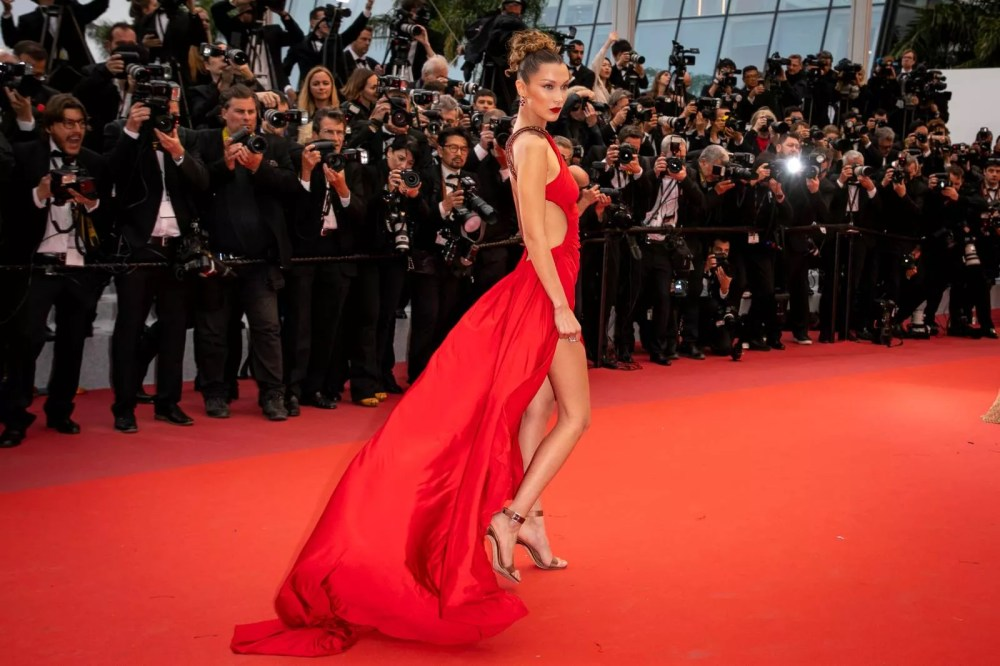 Bella Hadid at the Cannes Festival in 2019 from Roberto Cavalli from the 2005 spring / summer collection / Getty Images