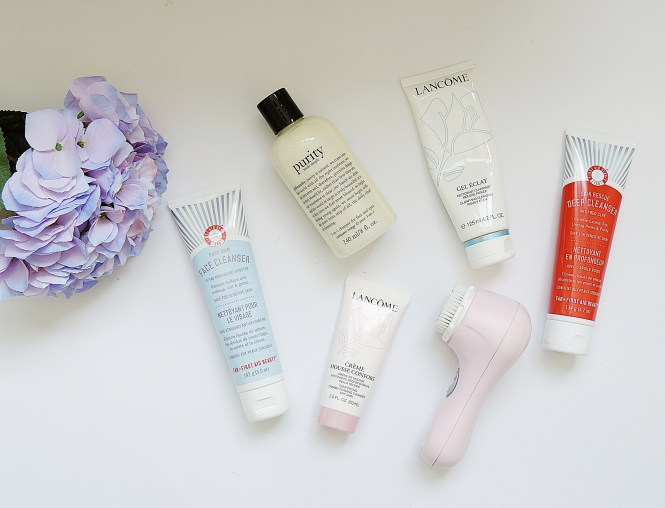 L-R: first aid beauty, philosophy, lancome, lancome, first aid beauty, clarisonic