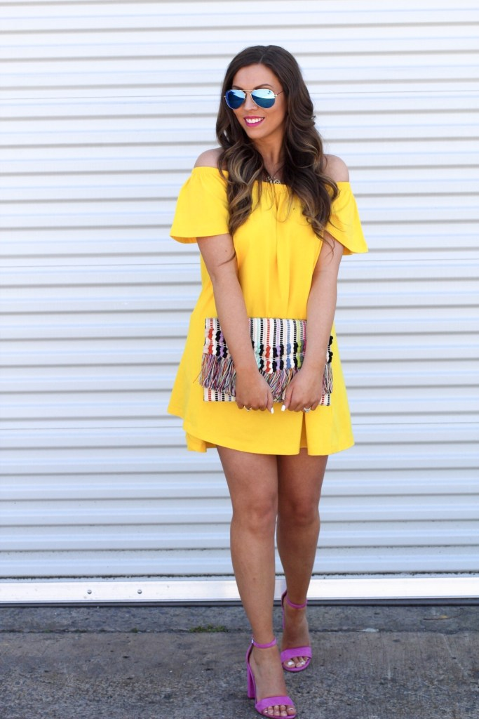 yellow-off-the-shoulder-dress