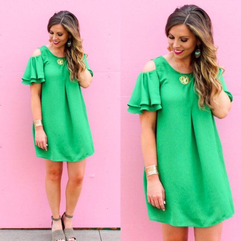 green-shift-dress-cold-shoulder