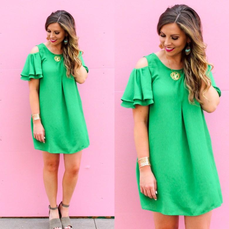 green-shift-dress-cold-shoulder