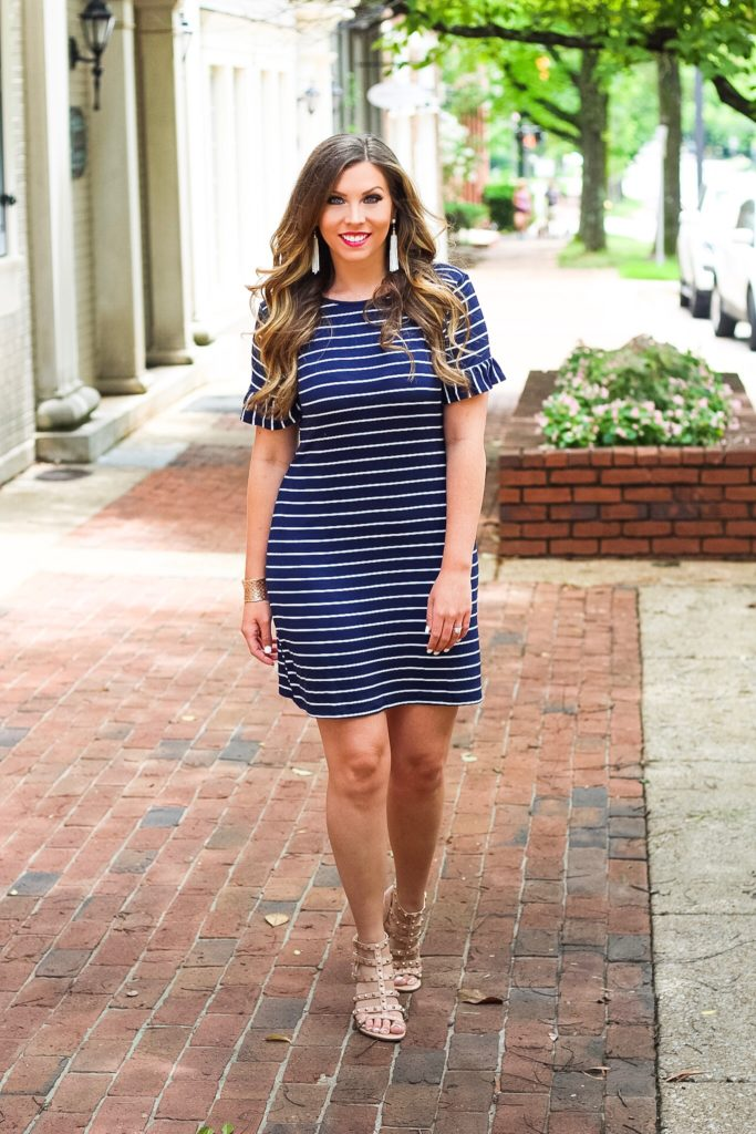 ruffle-sleeve-striped-dress