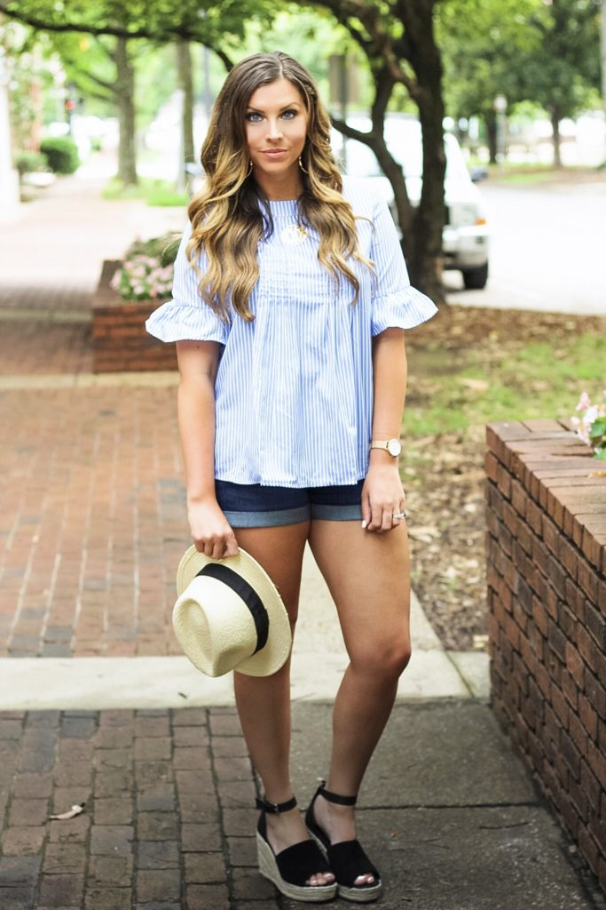 blue-and-white-ruffle-top