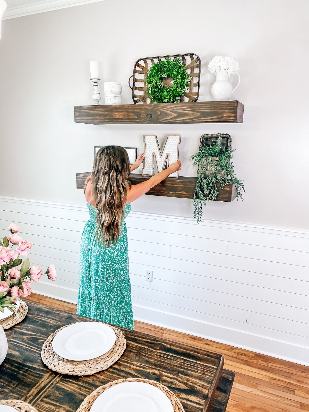 dining room wall decor and shelving
