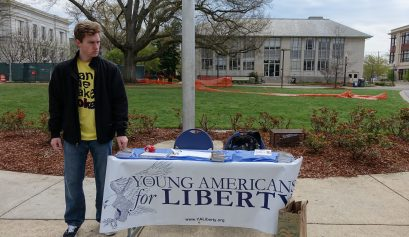John Nagle tabling for Young Americans for Liberty