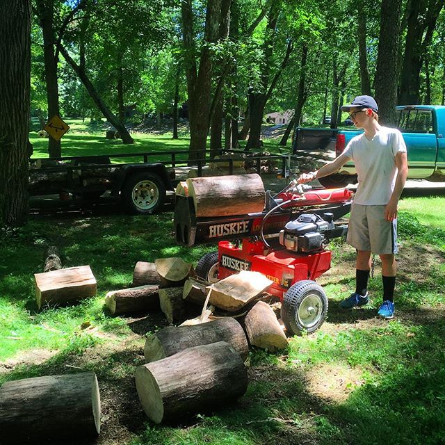 Splitting wood and cutting up downed trees. Summer groundskeeping continues at the Camp! @andiekingsbury #voiceministriescamp #voiceministries
