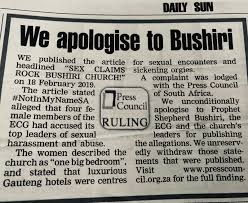 Biggest SA newspaper apologises to Bushiri for spreading Fake News against him