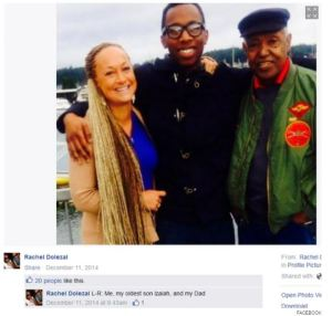 Rachel's facebook picture identifying a black man as her son and another as her Dad.