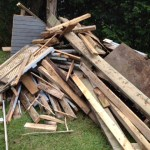 pile of wood that used to be our deck