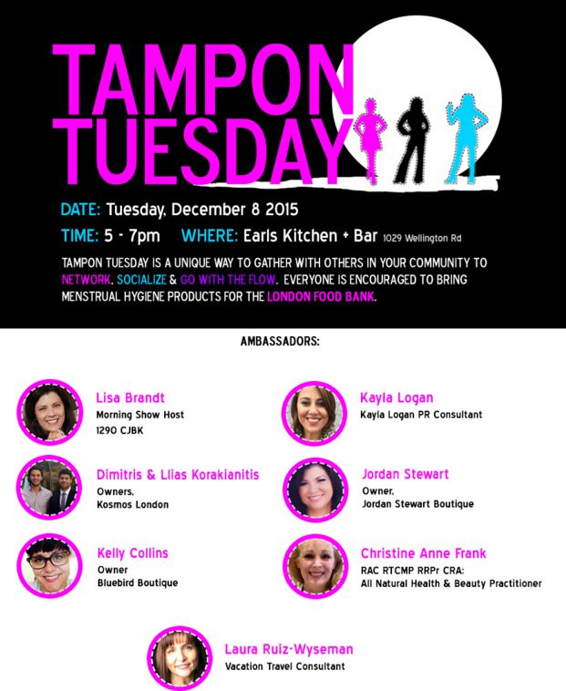 snip from the Tampon Tuesday website showing the fuschia logo and all of the ambassadors including me