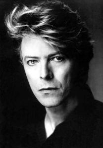 Black and white portrait of David Bowie