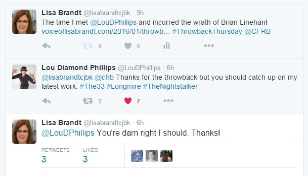 converstation between Lou Diamond Phillips and me on Twitter where he says I should get to know his latest work