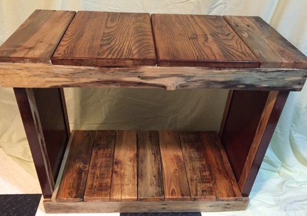 Hall table made of reclaimed wood
