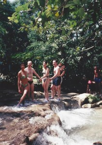 Me peeking out from a bunch of people holding hands - as we were instructed to do - to climb the waterfall at Ocho Rios