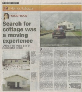 article from The Toronto Sun about the purchase and move of a house to Bayfield