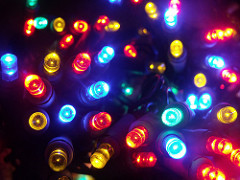 a shot of random coloured christmas lights