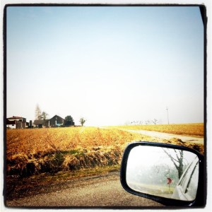The view of a side mirror on a truck and a wheat field and farm house in the distance