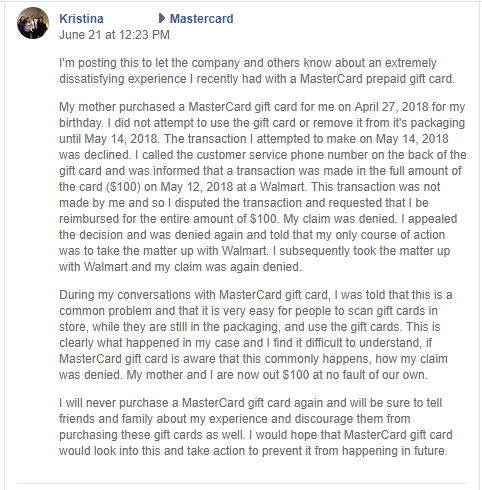 """Facebook post tells the story of how Kim bought her daughter Kristina a $100 Mastercard from Walmart but because someone had already stolen the bar code, it was marked """"used"""" when she tried to use it. Mastercard and Walmart both denied her claim of fraud."""
