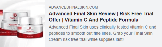 Facebook ad shows a bottle of the product and some text about a risk-free trial