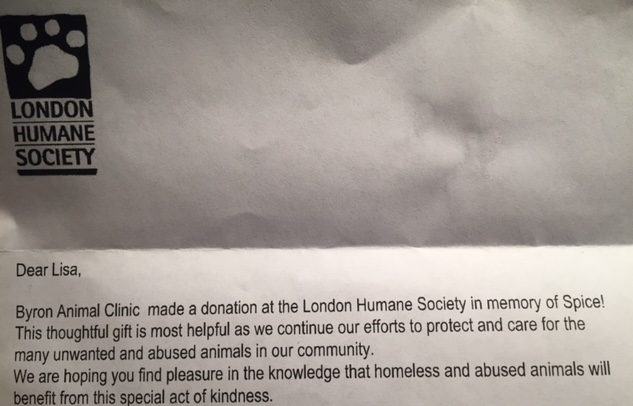 letter from the London Humane Society letting us know that our vet clinic made a donation to them in Spice's memory