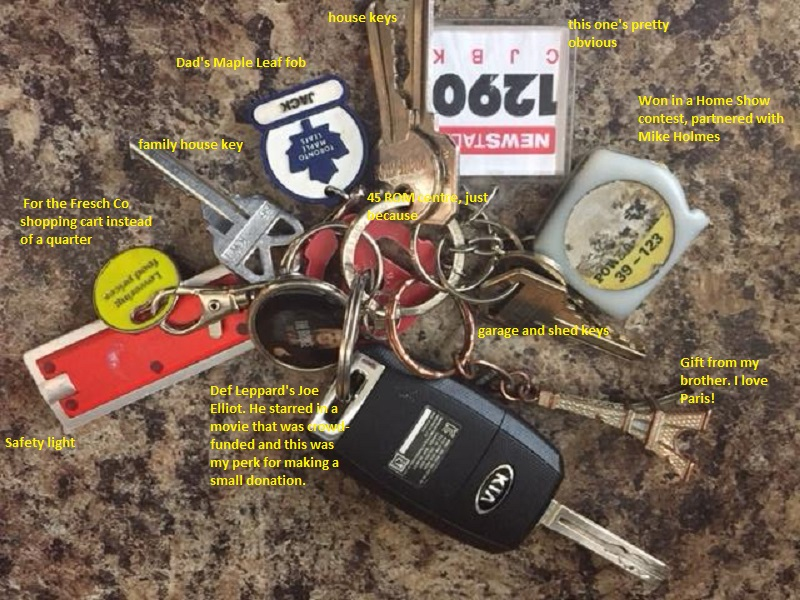 My keychain splayed out with captions explaining each item. Car keys, house keys, garage and shed keys, a 1290 fob, a small tape measure I won with Mike Holmes at the Home Show, a small flashlight, a 45 centre, a token to use instead of a quarter in a grocery cart, a small Eiffel Tower my brother gave me, a Toronto Maple Leaf thing that says Jack (it was my Dad's) and Joe Elliot from Def Leppard in a fob I got from donating to a movie he starred in.