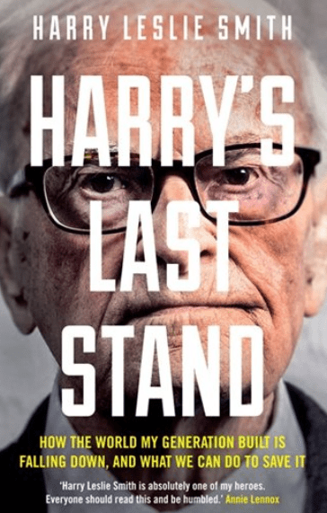 book cover for Harry's Last Stand has title in big type in front of a closeup of Harry's face