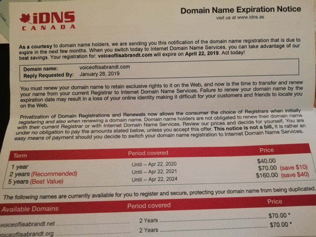 Well done letter that looks official. IDNS Canada tells me my website domain will expire and might be taken offline if I don't pay a renewal fee