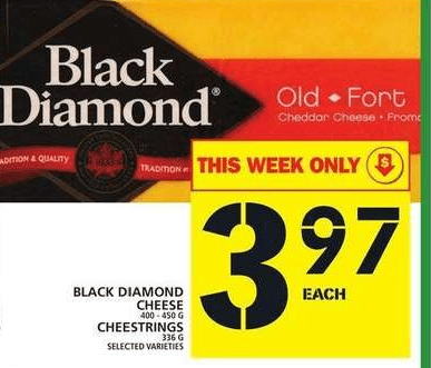 snip from the Food Basics flyer showing 400g packages of Back Diamond cheese are $3.97 each