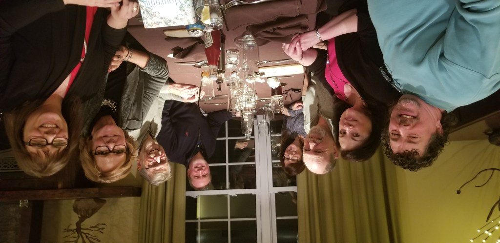 A view of the 8 or us around the table at the Tin Mill restaurant.