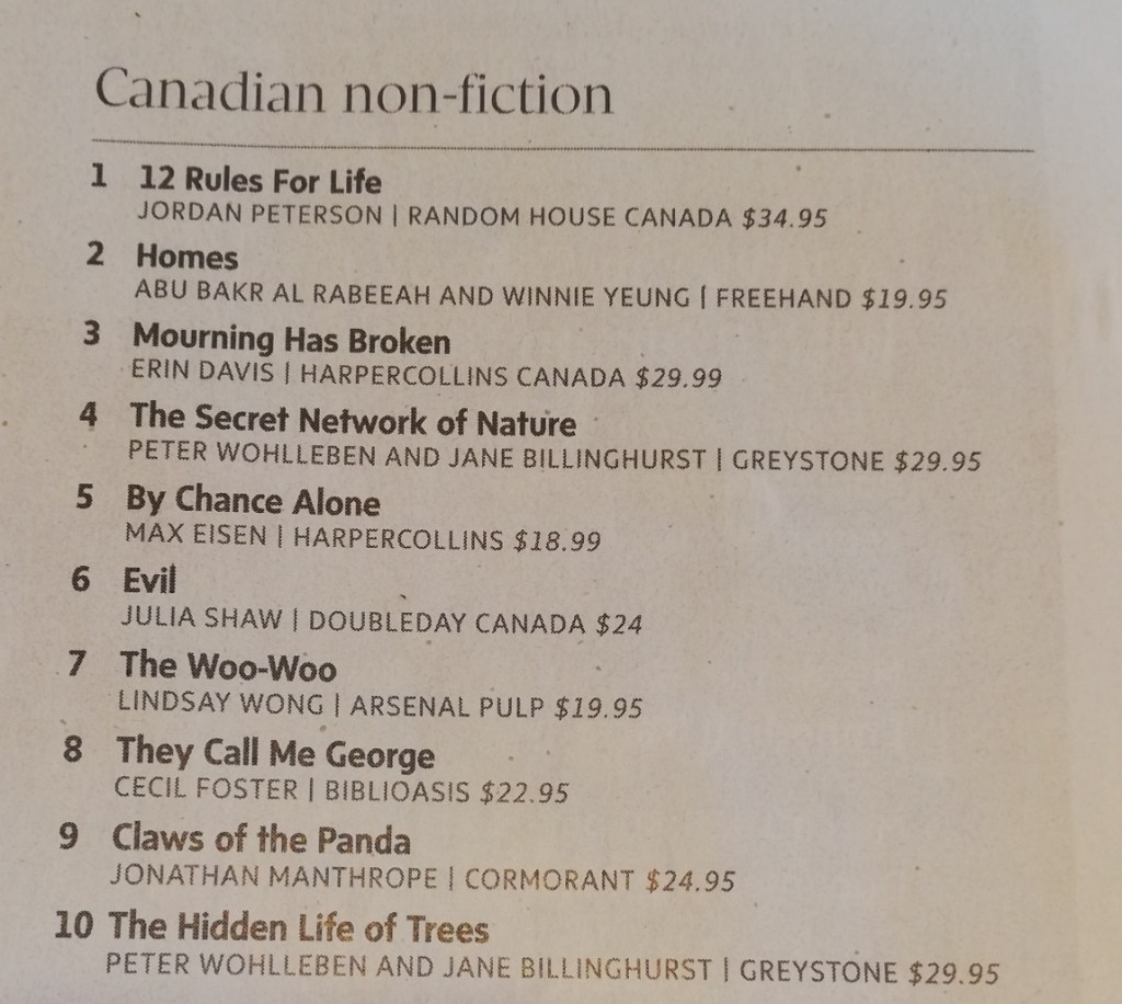 Canadian non-fiction list shows Mourning Has Broken at number three.