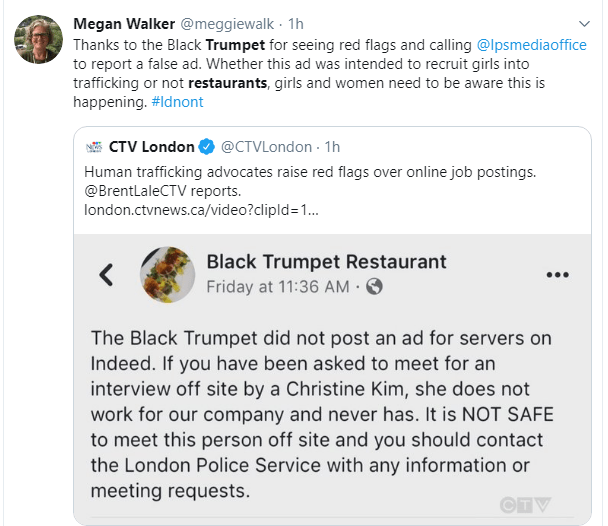 Megan Walker retweets a CTV News story link and a tweet from Black Trumpet Restaurant telling Londoners the ad has nothing to do with them and that it's not safe to meet the person because she has no connection to the restaurant.