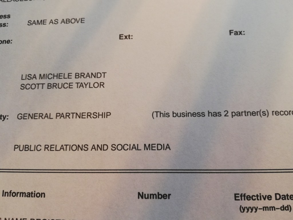 A copy of part of a Master Business LIcense registered with the Ontario government. It's a general partnership between me and Scott Taylor.