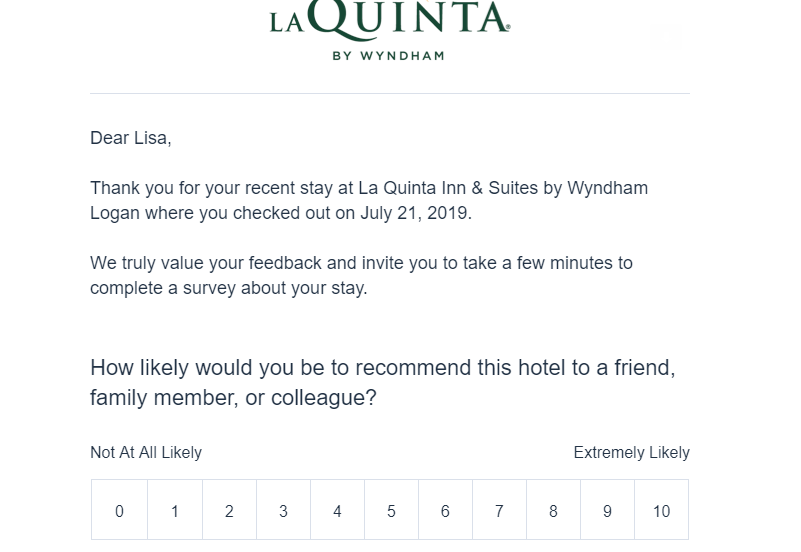 Email asks me to rate my stay at the La Quinta Inn & Suites by Wyndham Logan, with the hotel logo and official-looking wording.