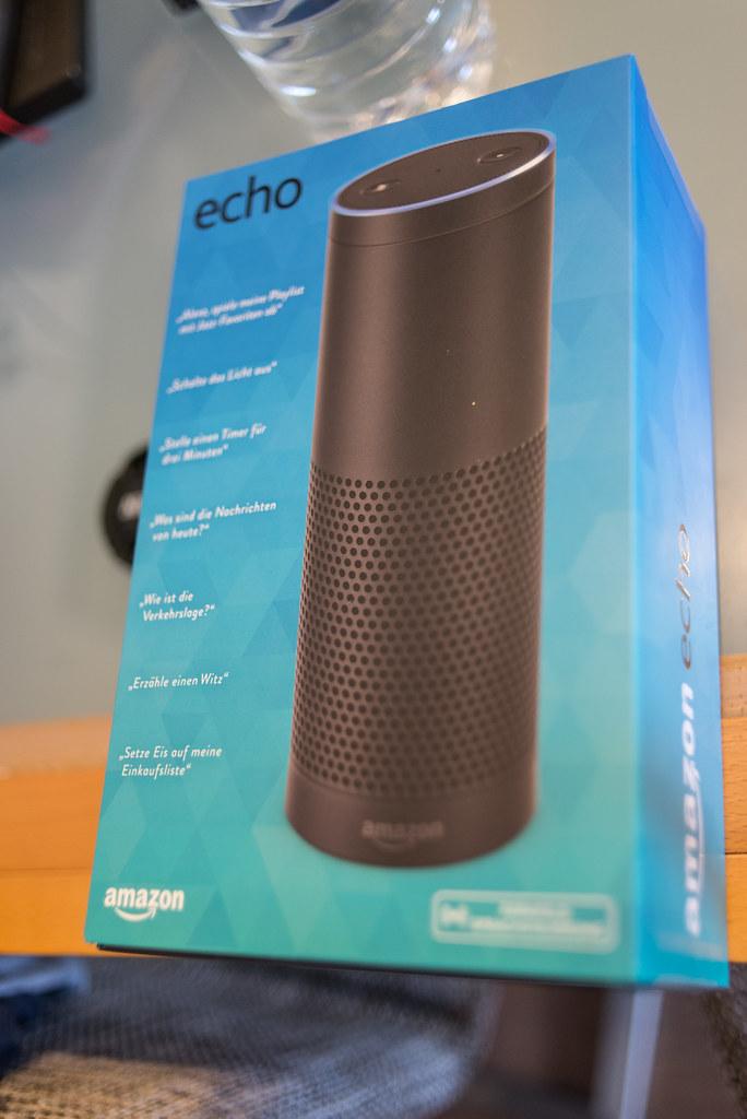 An Amazon Echo smart speaker still in the blue box