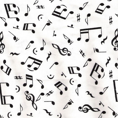 random black music notes spread out on a white blackground