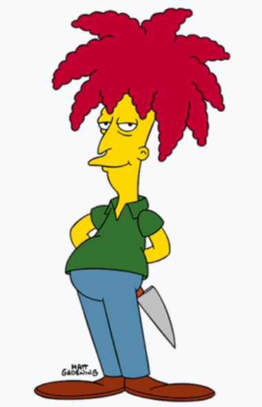 Sideshow Bob has an umbrella-like crop of dreadlocks. He's wearing a greetnT-shirt, blue pants and is holding a knife behind his back.