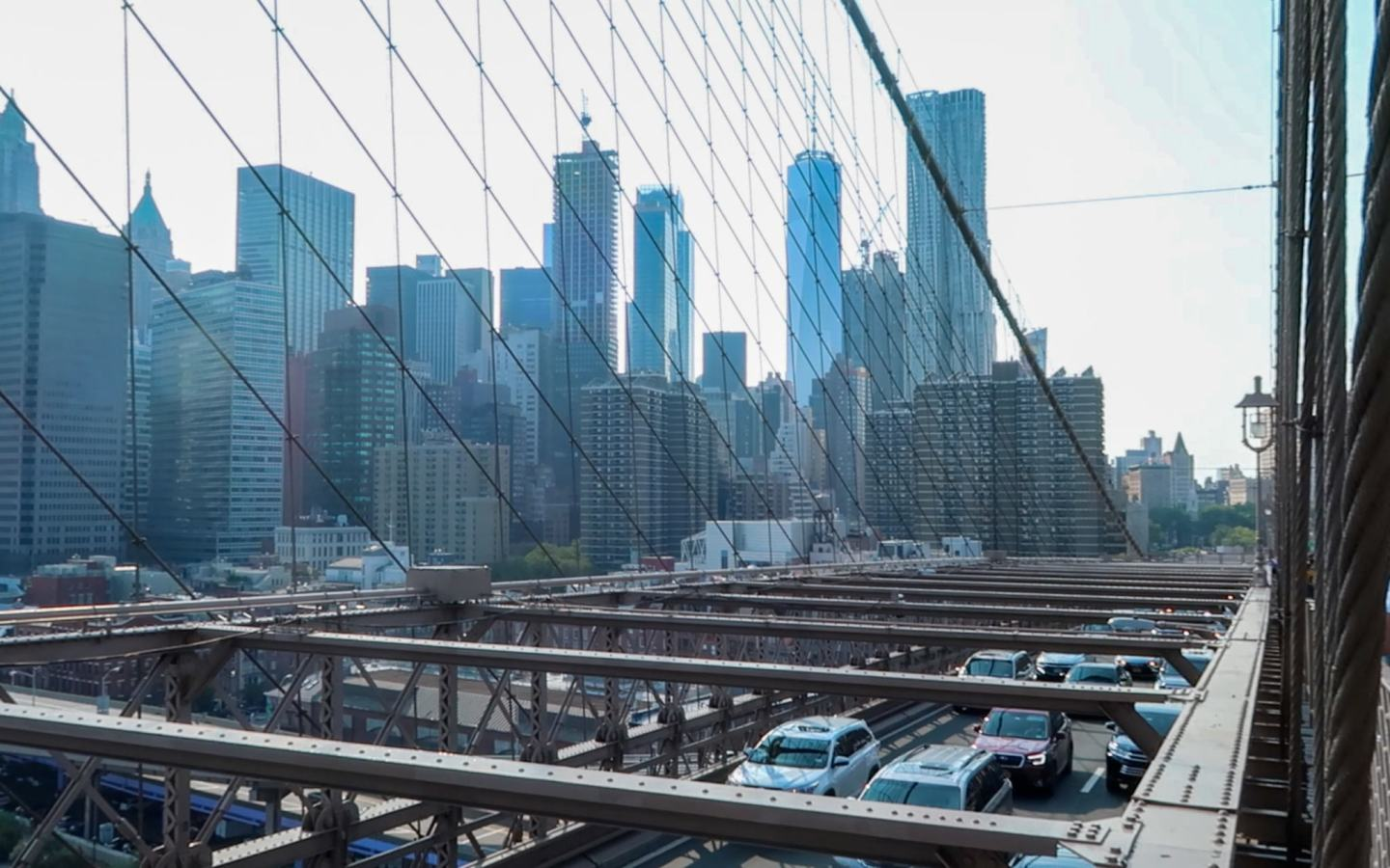 view of skyline from brooklyn bridge