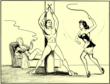 Pencil drawing by Joe Shuster. Same art style as his early superman comics. A buff man is cuffed to a post. His body stretched out and vulnerable to the whips of the black hair maid in stockings and very high heels. Behind them is a second woman. Smoking him her underwear on a chaise longue. He really looks like superman and the black haired woman has the same face as Lois Lane.