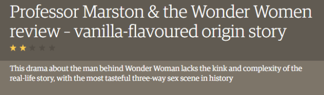 "Screenshot from the Guardian website reading ""Professor Marston & the Wonder Women review - vanilla-flavoured origin story"" two stars This drama about the man behind Wonder Woman lacks the kink and complexity of the real life story, with the most tasteful three-way sex scene in history"