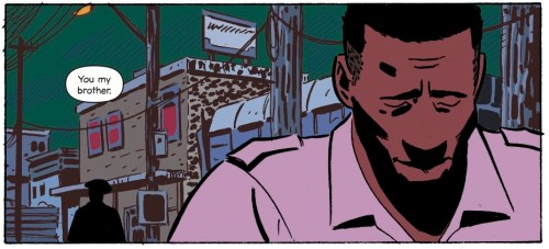 Panel from Virgil showing the title character, a black man in his thirties, walking away from the silhouette of his friend, a sad tired look on his face. The art uses bold lack lines and block colour colouring.