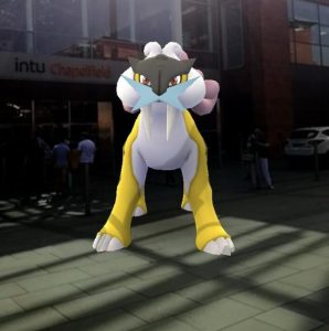 Raikou outside Chapelfield shoping centre
