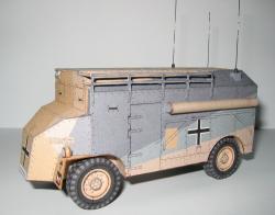 """Papercraft imprimible y recortable del vehículo de comando blindado AEC ACV """"Dorchester"""". Manualidades a Raudales."""